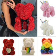 2020 Hot Sale Soap Foam Bear of Roses Teddy Bear Rose Flower Artificial Wedding Decor Christmas Valentines Day Gifts for Women