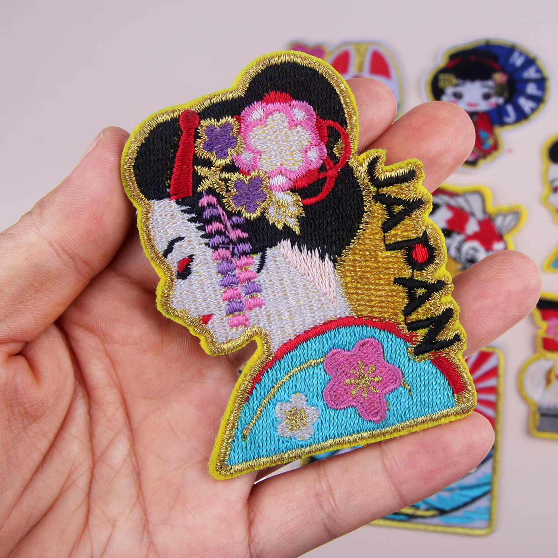 Tokyo Japan Traditionele vrouwen Vos gezicht Sea wave Patches Leuke Iron On Applicaties Voor Kids Kleding 3D Diy Accessoires