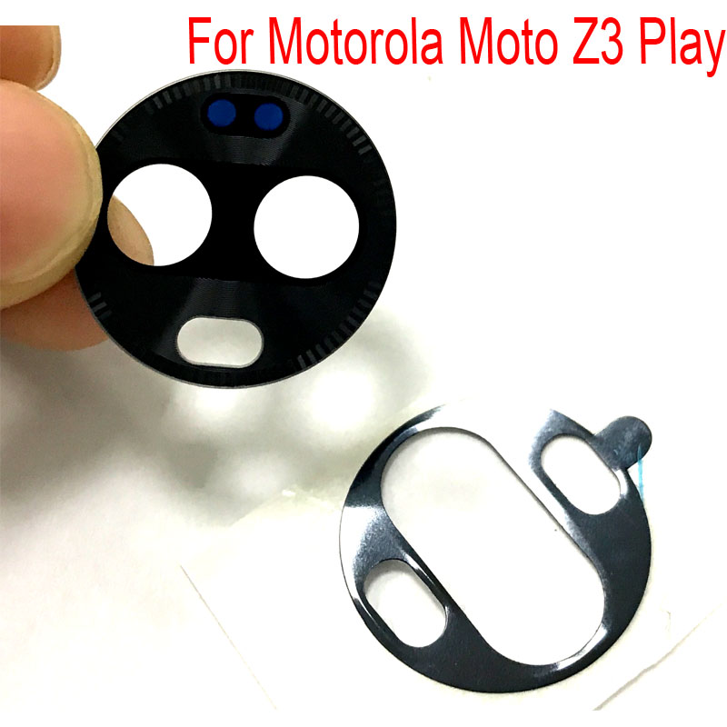 2 Pcs For Motorola Moto Z3 Play Z4 Camera Glass Lens Back Rear Camera Glass Lens With Glue Replacement Repair Spare Parts