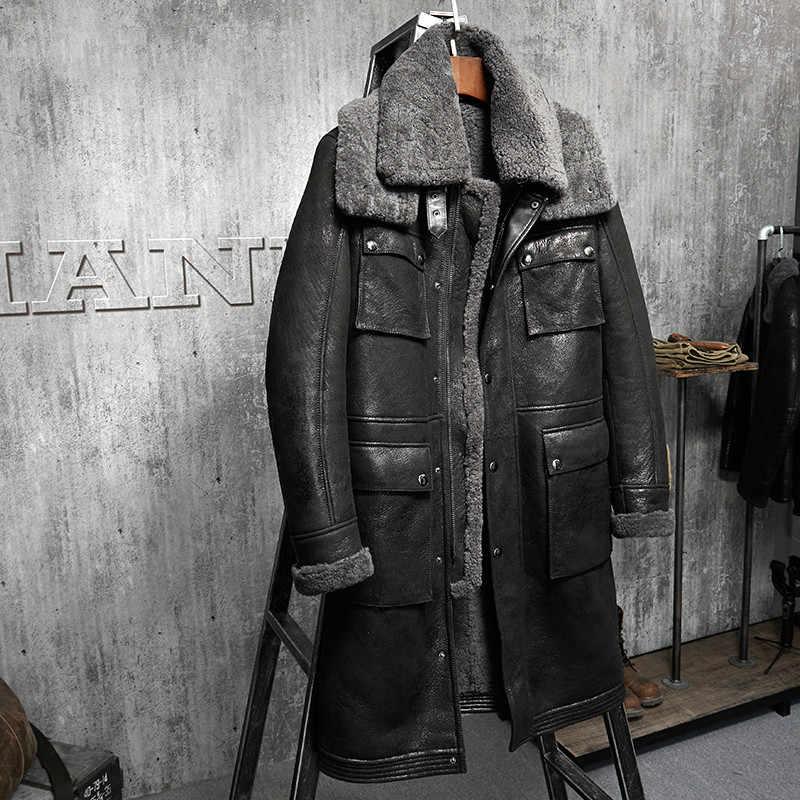Новая зимняя Толстая меховая мужская кожаная куртка с двойным воротником из овчины кожаная куртка мужская Высококачественная куртка-бомбер из натуральной кожи