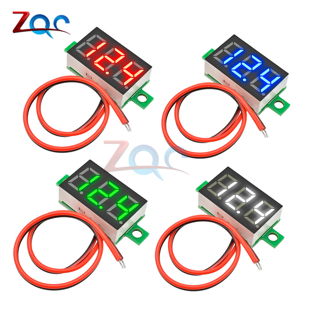 0.36 Inch DC 4.7-32V 2 Wires Mini Digit Display Voltmeter Mini LED Digital Panel Volt Voltage Meter Instrument Car 12V 24V
