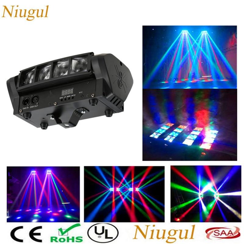 Niugul högkvalitativ 8X10W Mini LED-spindelljus DMX512 LED-rörlig huvudlampa RGBW LED-strålklubb DJ Disco Stage Lighting KTV lamp