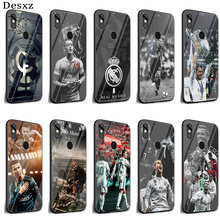 Phone Case Glass For Xiaomi Mi 8 Lite A1 A2 9 Redmi Note 5 6 7 Pro 6A 4X Pocophone F1 Real Madrid Equipo Negro Cover(China)