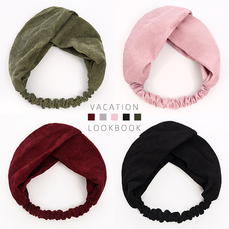 1PCS Corduroy Headband Elastic Hair Band Bow Hairband Cross Knot Hair Accessories Solid Color Soft Turban Headwrap Women Women's Accessories cb5feb1b7314637725a2e7: Wine red|Army green|black|Grey|Pink