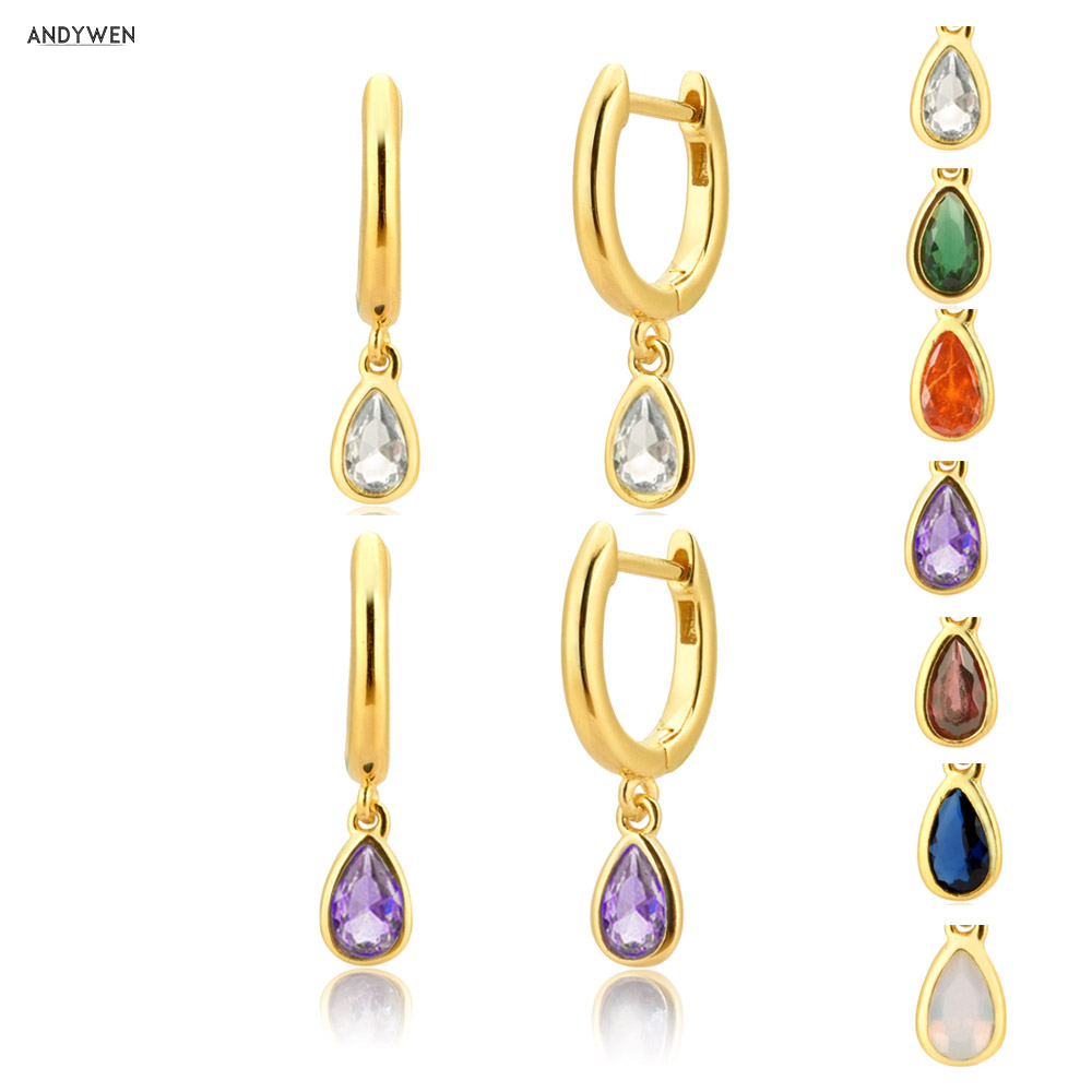ANDYWEN 925 Sterling Silver Multi-Color Ovals Drop Earrings 2020 Rock Punk Delicate Small Mini Circle Round Ohrringe Jewelry