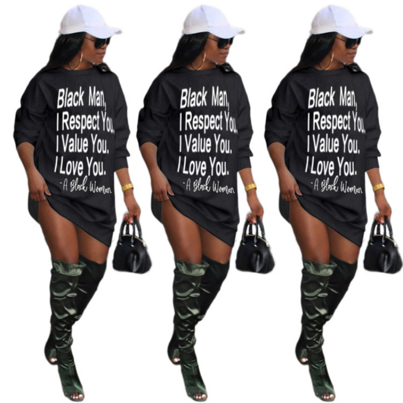 Letter Print Long Sleeve Casual Straight Women MIni-Dress 2020 Autumn New Fashion Street Style Clothes