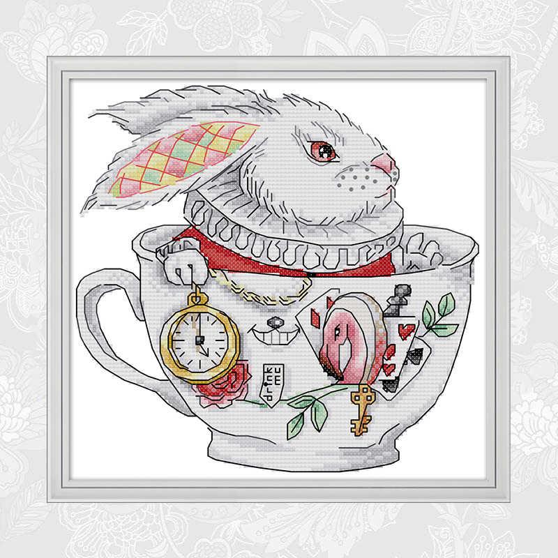ウサギカップカウントクロスステッチキット DIY ハンドメイド刺繍 Chinses クロスステッチ刺繍に印刷されたキャンバス