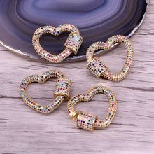 3PCS, Gold Color Rainbow CZ Micro Pave Heart Clasps, DIY Jewelry Clasps, Lock Carabiner, For Jewelry Making