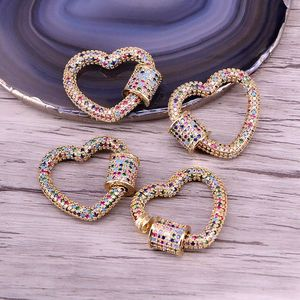 Image 1 - 3PCS, Gold Color Rainbow CZ Micro Pave Heart Clasps, DIY Jewelry Clasps, Lock Carabiner, For Jewelry Making