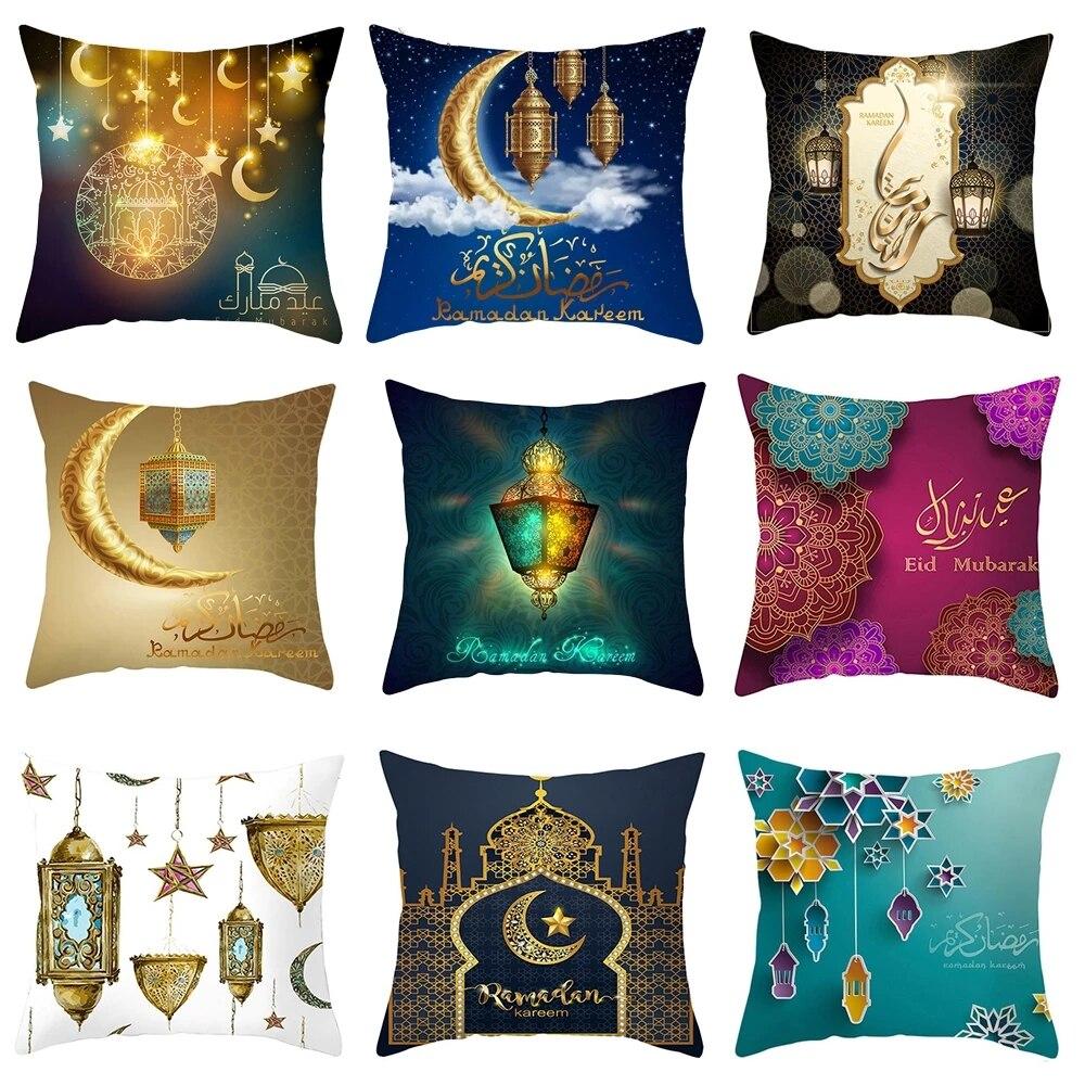 Housse de coussin du Ramadan Mubarak 45x45cm, décoration Eid Mubarak, cadeaux de fête musulmane islamique Eid Al Adha Ramadan Kareem
