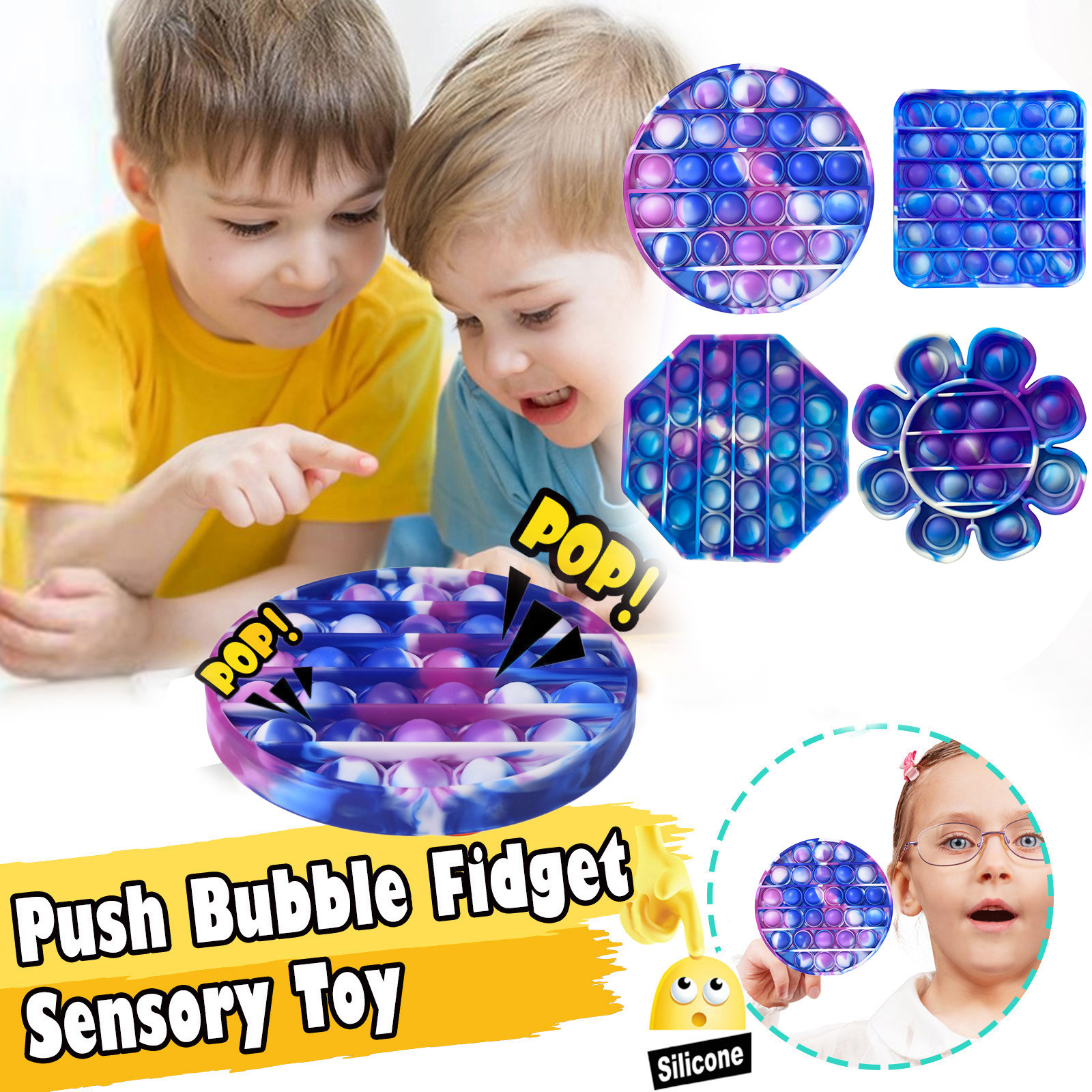 Fidget-Sensory-Toy Game-Stress Bubble Pops Squishy-Pops Special Needs Rainbow-Push Autisim img2