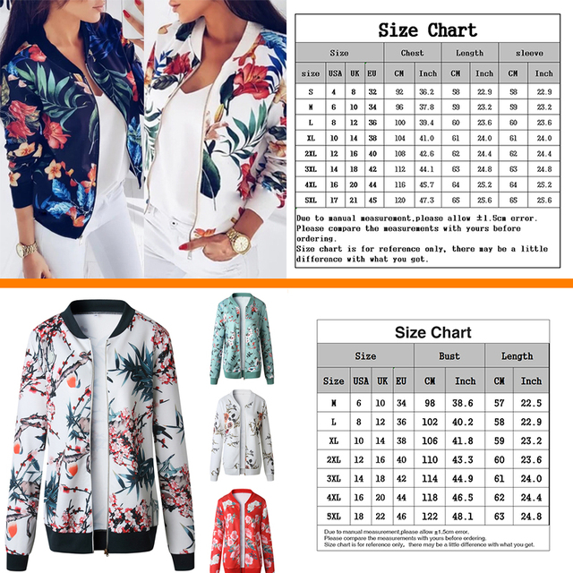 Fashion Flower Leaves Print Jacket Long Sleeved Zipper Coat  6