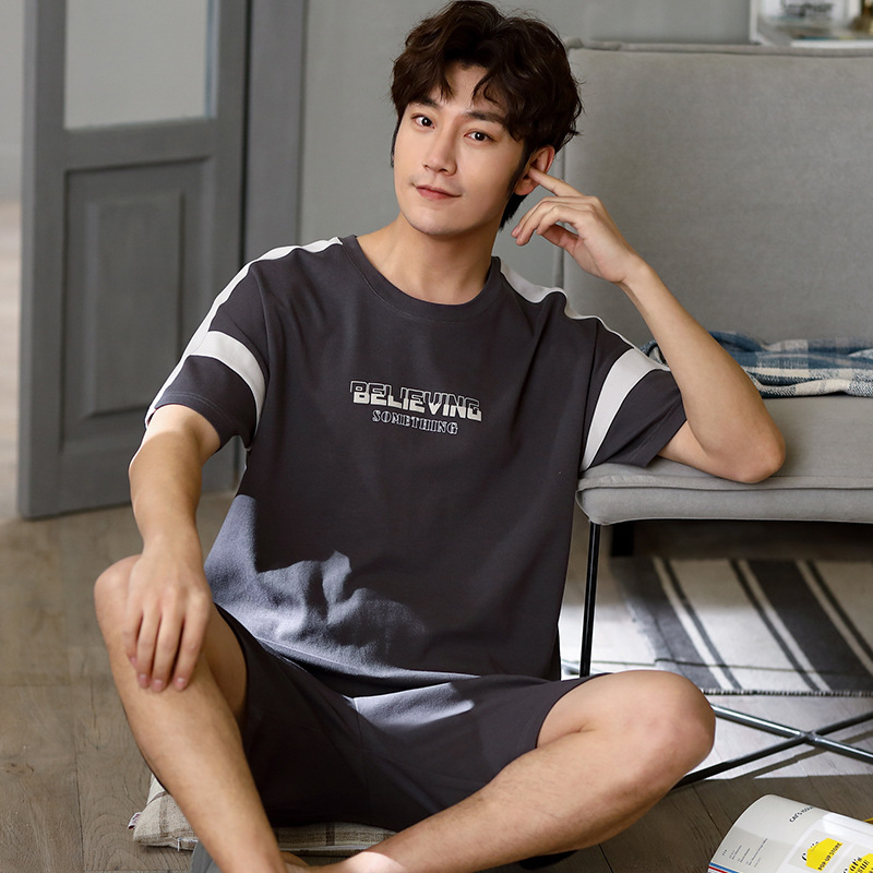 2020 Pajamas MEN'S Short Sleeve Pure Cotton Summer Men Pure Cotton Large Size Casual Comfortable Pajamas Homewear Set