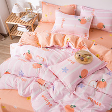 Oxigênio sólido conjunto de cama 4 pçs folha cama conjunto geométrico linho pastoral conjunto capa edredão gêmeo rainha completa rei tamanho