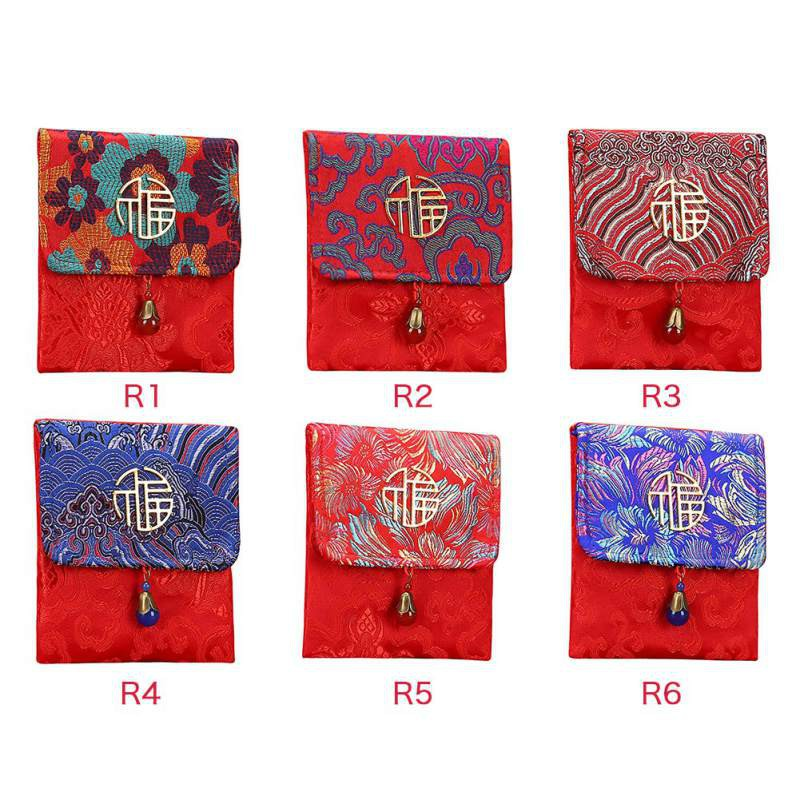 Vintage Chinese Embroidered Red Pocket Storage Bag Drawstring Coin Purse Pouches Gift Bags Wedding Gift Bag Display Packing Bags