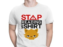 Stop Reading My Shirt Cat With Evil Eye Tshirts Spring Websites Creative Tshirt For Men Famous HipHop Top Tee Shirt Euro Size(China)