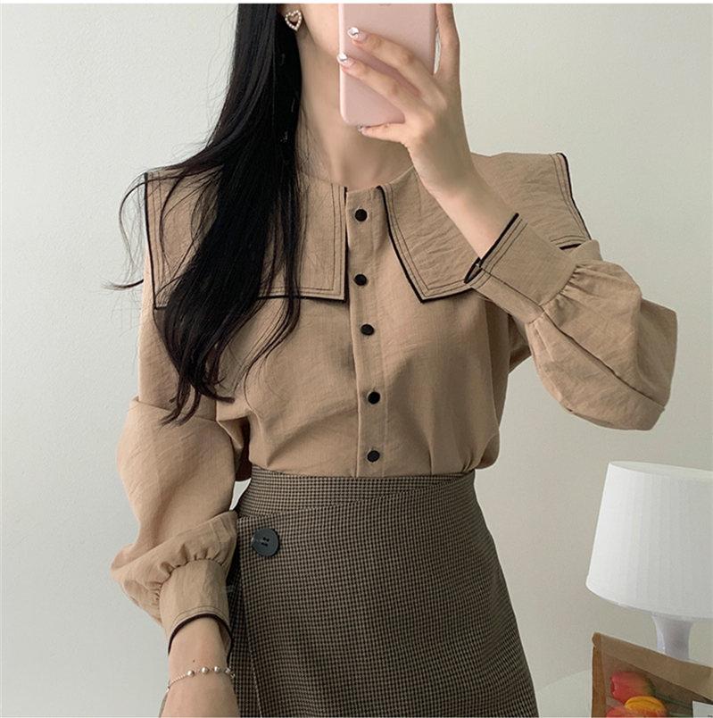New Vintage Solid Brown Shirt Female Oversize Tops Women Long Sleeve Girls Blouse Plus Size Autumn Women Blouses Femme Blusas