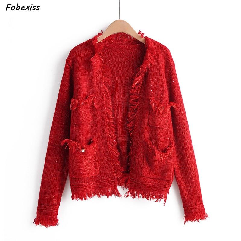 Knitted Cardigan Sweater Jacket Women Fall 2019 Long Sleeve Button Tassel Pocket Outwear Women Vintage Red Sweater Streetwear in Cardigans from Women 39 s Clothing
