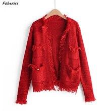 Knitted Cardigan Sweater Jacket Women Fall 2019 Long Sleeve Button Tassel Pocket Outwear Women Vintage Red Sweater Streetwear