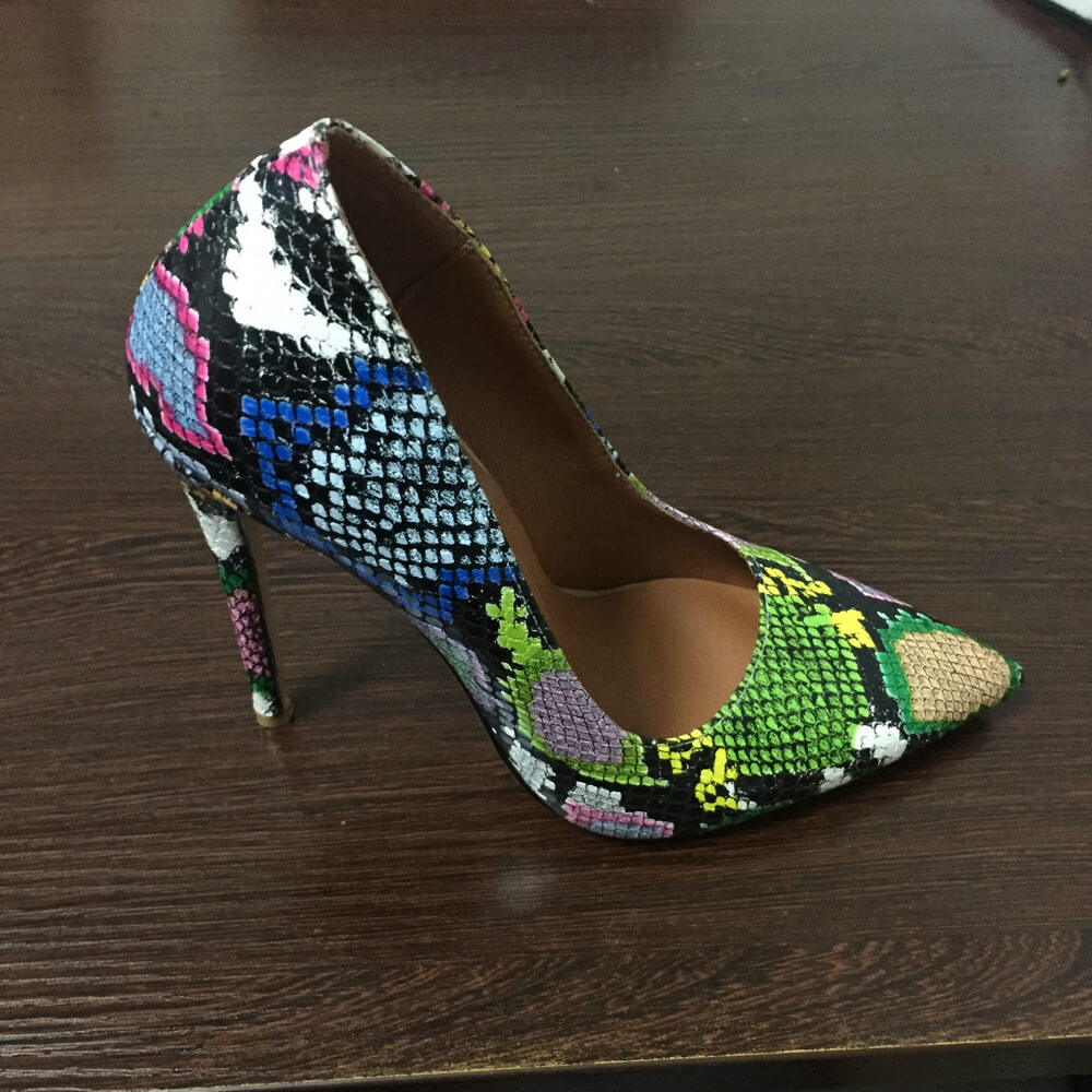 12cm Heel Women Pumps Brand High Heels Colorful Snake Print Faux leather Pointed Toe Sexy Stiletto Ladies Shoes Big Size 34-43