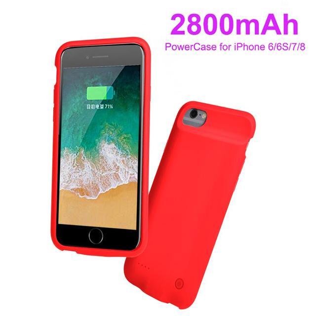 2800mAh pil şarj cihazı için akıllı iPhone6/6s/pil kutusu güç bankası şarj edici kılıf kılıfları Ultra ince harici sırt çantası