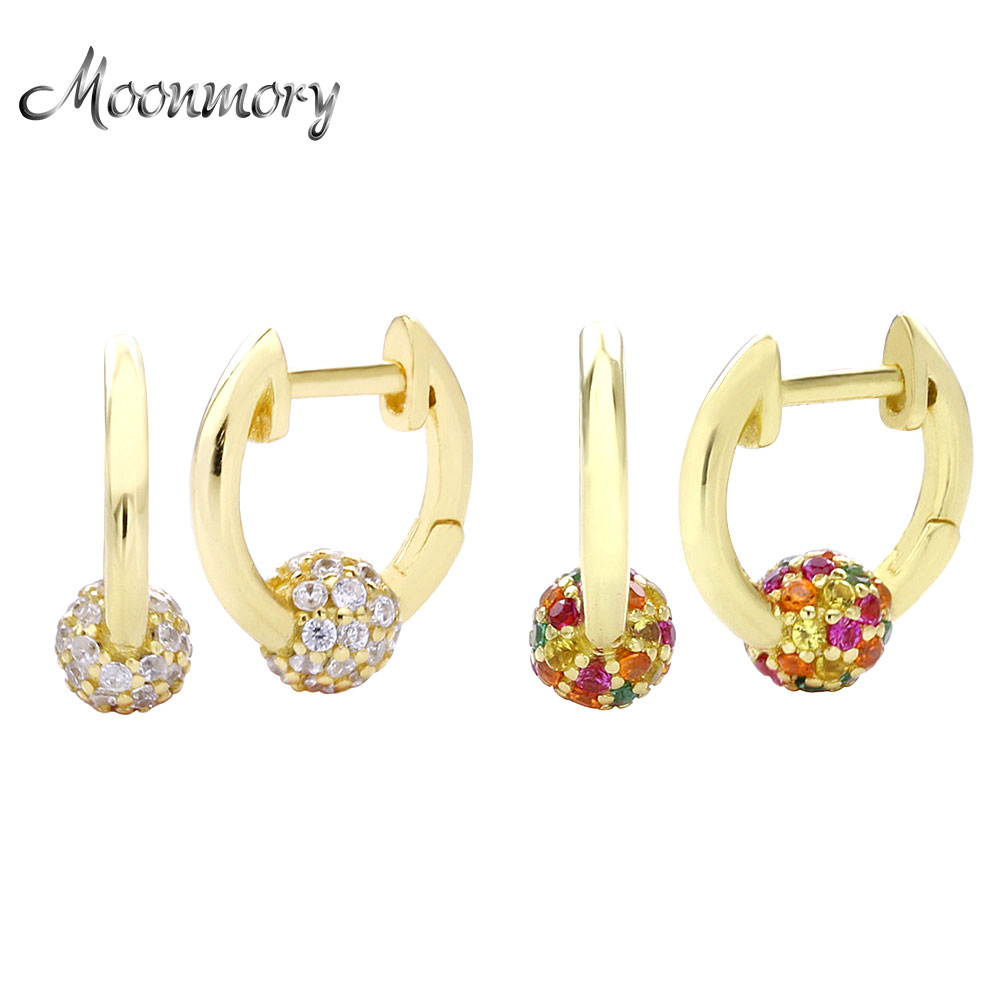 Moonmory Fashion 100% 925 Sterling Silver Zircon Huggie Hoop Earring  For Women 2020 Round Crystal Earring Jewelry Orecchini
