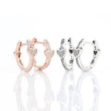 925 prata esterlina pandora brinco sedutor copas com pregas de cristal brinco para presente feminino moda joias
