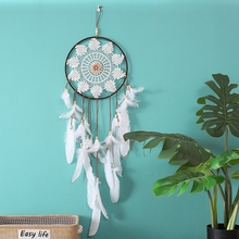 Handmade Dreamcatcher Indian Style Woven Flower Wall Hanging Decoration White Wedding Party Decor