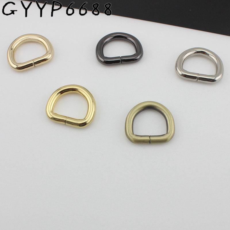 50pcs 5 Colors Line 4.0mm 16mm Inside Opened Ring Hardware Metal Gold Round D-ring For Bag Brush Gold Silver