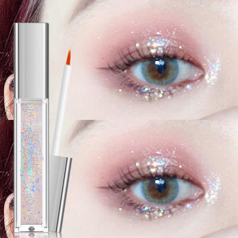 1PC Liquid Eyeshadow Mutiara Cahaya Flash Film Brilian Mutiara Sorot Flash Eye Shadow Bedak Berbohong Ulat Jus