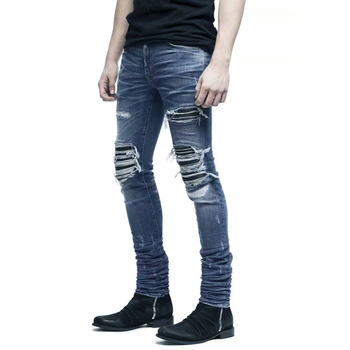 цены Italian Style New Men Jeans,Blue Color Patchwork Casual Pants Slim Fit Brand Streetwear Stretch Biker Hole Jeans Men