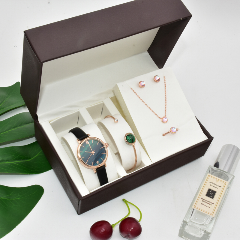 Top Brand Women Watches Set Luxury Ladies Creative Malachite Green Dial Quartz Watch Bracelet Fashion Jewelry Set Women's Gift