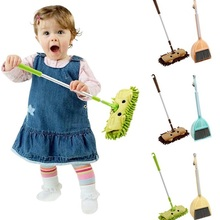 Dustpan-Set Broom Extensible Tablet Drag Baby Cleaning Kids Mini Children Pretend-Play-Toy