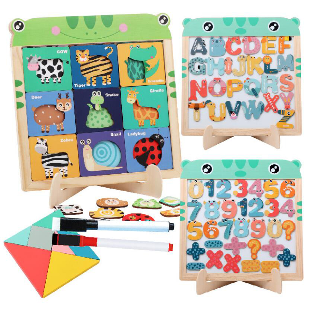 Wooden Montessori Educational Magnetic Jigsaw Game Toys Gift Children's Magnetic Animal Puzzles Circus Drawing Busy Board LHB010