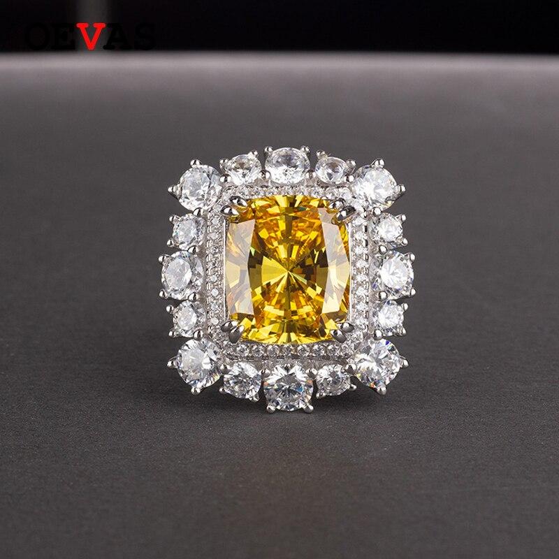 OEVAS 100% бриллиантовые серебряные кольца, блестящие 11 карат, топаз, созданный из высокоуглеродистого муассанита, ювелирные украшения для свад...
