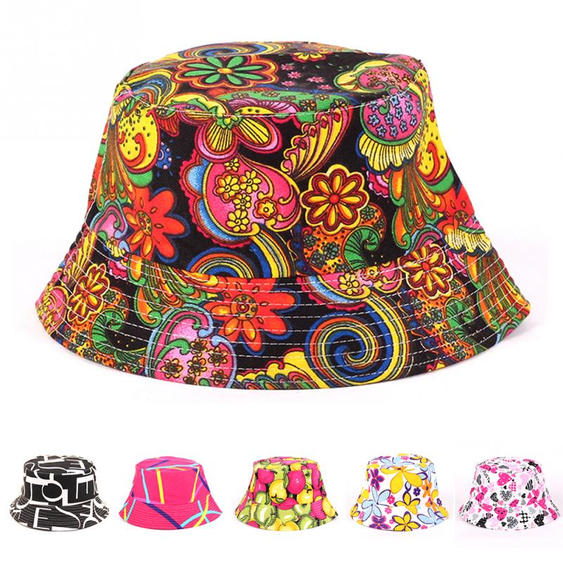 Fashion Women Retro Floral Bush Bucket Sun Hat, Summer Anti-UV Cotton Cap For Hunting Fishing Outdoor Canvas Hat #2