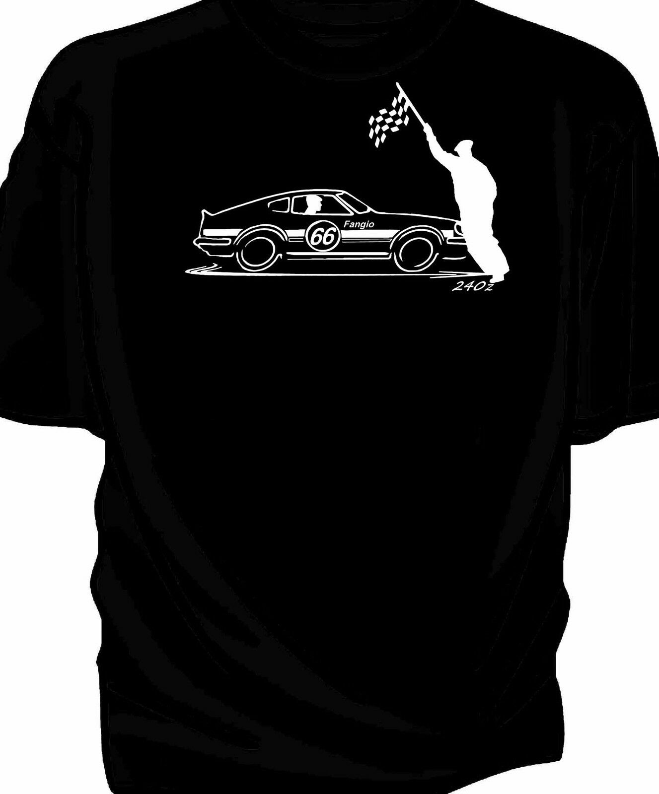 Personalised Original Sketch Chequered Flag T-Shirt Classic Race Datsun <font><b>240Z</b></font> image
