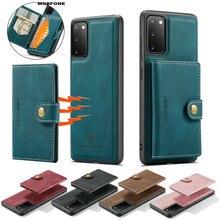 Luksusowe skórzane etui do Samsung Galaxy S21 Ultra S20 Plus FE ruchome etui na karty magnetyczne etui do Samsung A12 A42 A52 A72 A32