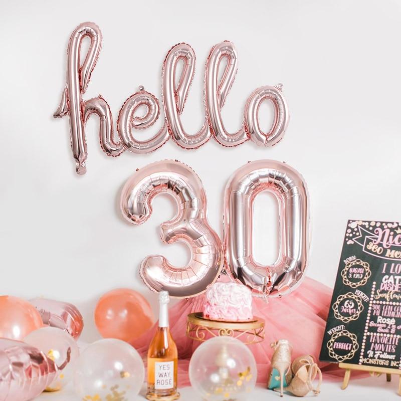 Розовое золото Hello 30 воздушные шары детский душ 10/13/15/21/25th 30th День Рождения Декор 21 30 количество надувные воздушные шары