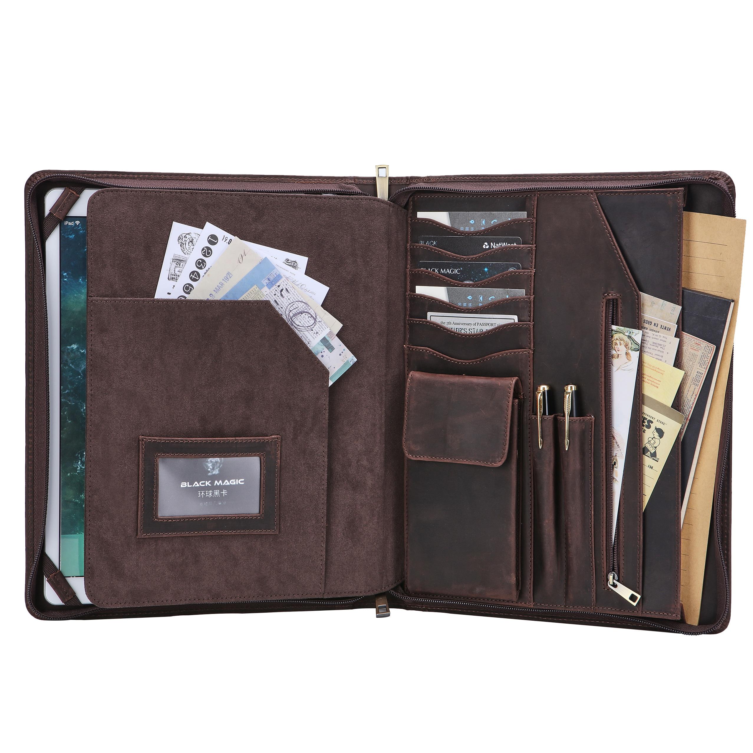 Leather Portfolio Business Organizer Folder Padfolio Executive Case Document Bag