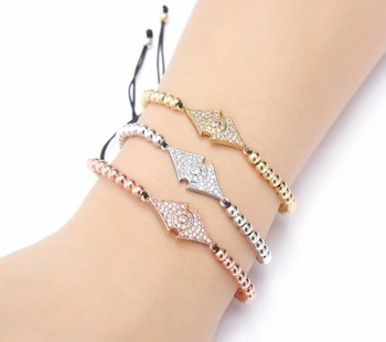 gold silver micro pave cz Cubic Zirconia rope adjusted Copper Beads Bracelet ur3 Charm Braided Bangles Women image