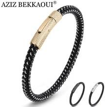 Bracelet Stainless-Steel Charm Metal Black AZIZ Punk BEKKAOUI Twining Threaded-Button