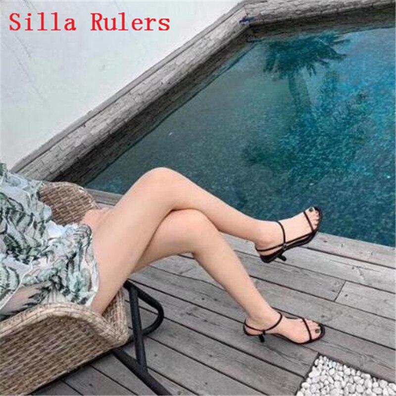 Модные женские босоножки на тонком ремешке; коллекция 2019 года; простые кожаные сандалии гладиаторы на высоком каблуке; женская летняя обувь; женские сандалии; mujer - 3