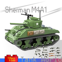726pcs Sherman M4A1 Tank Building Blocks LegoingLYs Military Bricks Set WW2 War Tank Soldiers Weapons Boy Kids Toys for Children(China)