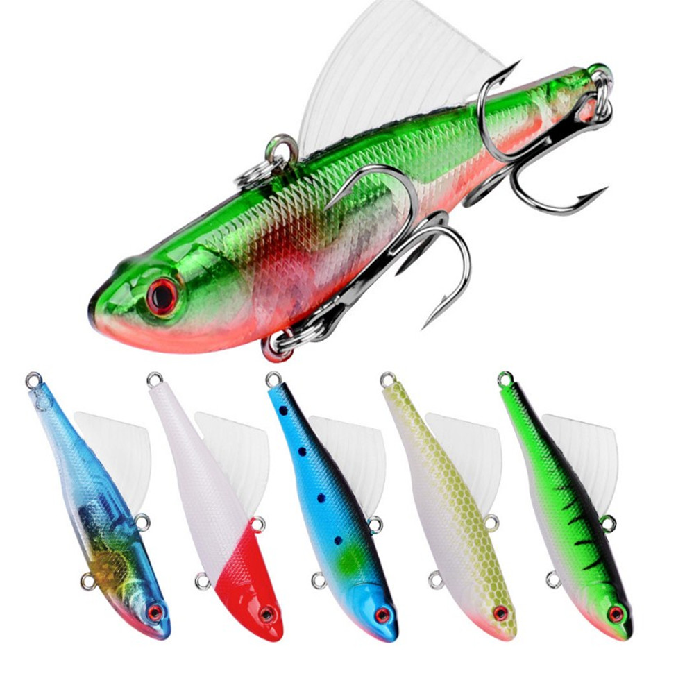 1PCS Sinking Vibration Fishing Lure 17.4g 6.8cm Hard Plastic Artificial VIB Winter Ice Bait Lead Swivel Jig Wing Wobblers Peche
