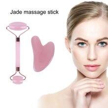Natural jade gua sha placa de pedra massagem rosa quartzo guasha placa jade rosto massageador raspadores ferramentas para rosto pescoço volta corpo