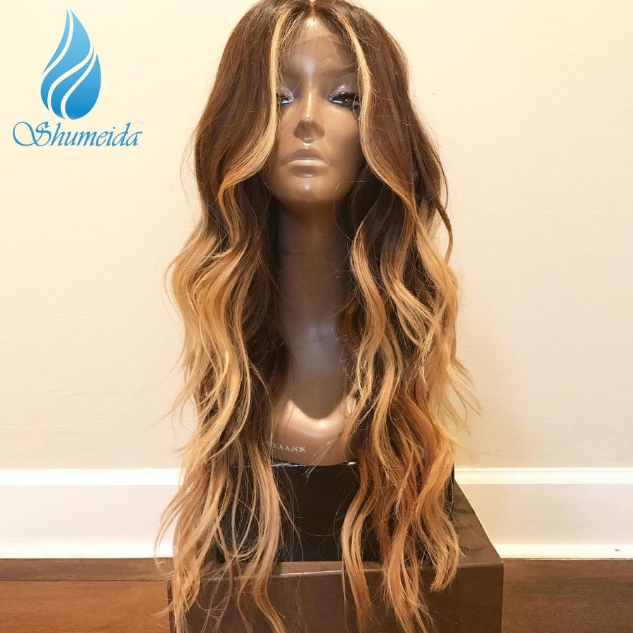 13*6 передние волосы на кружеве парики для женщин с детскими волосами Выделите коричневый цвет парики с волнистыми волосами 100% человеческие волосы бразильские парики Remy - 3