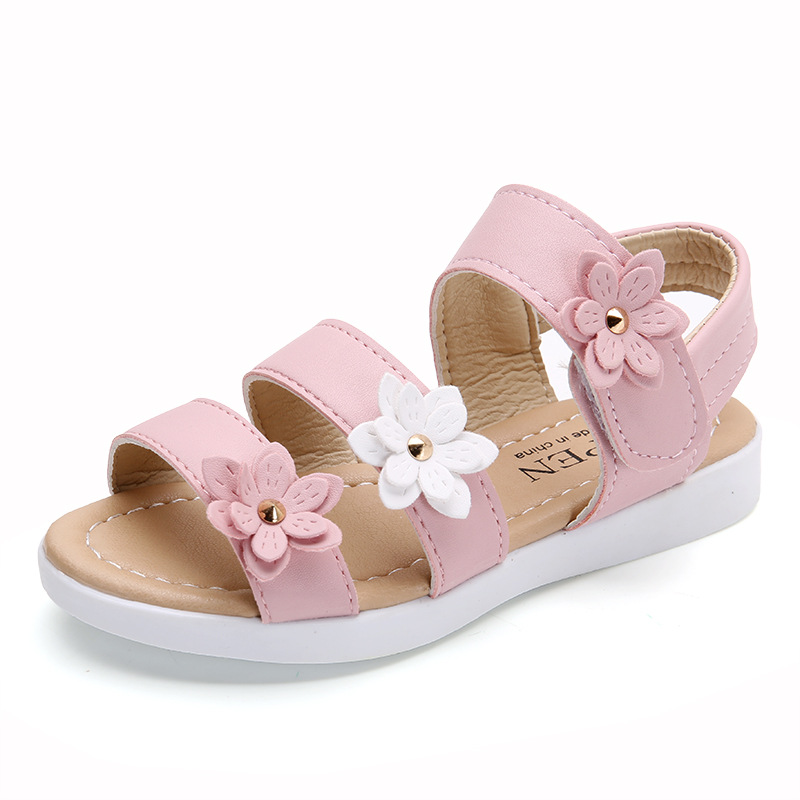 2020 New Summer Kids Girls Sandals Fashion Casual Children Sandals Girls Big Flower Flat Pricness Shoes Pink White Size 21-36
