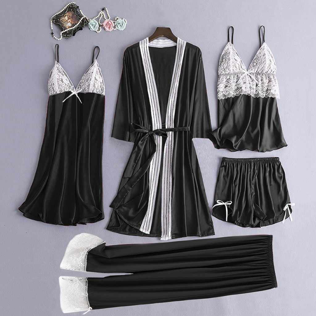 5pc Robe Gown Sets Women's Pajamas Satin Lace Camisole Trousers Patchwork Shorts Sleep Lounge Nightdress Robe Sleepwear Lingerie