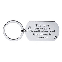 The love between grandfather and grandson stainless steel key ring factory direct sales can be customized